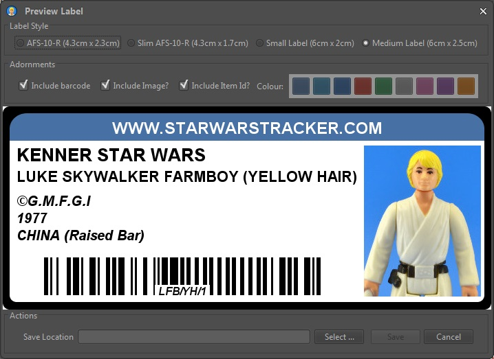 Preview the label while making choices
